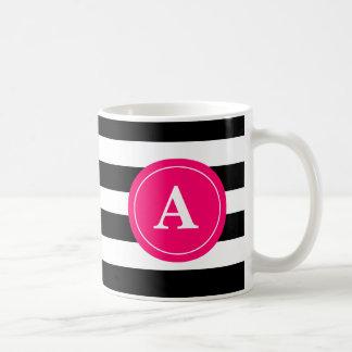 Black and Hot Pink Stripe Monogram Coffee Cup コーヒーマグカップ