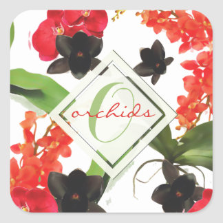 Black and Red Orchids Art Watercolor Monogram スクエアシール