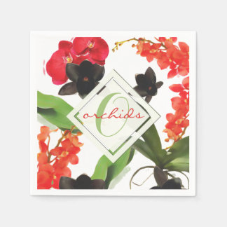 Black and Red Orchids Art Watercolor Monogram スタンダードカクテルナプキン