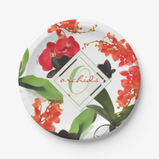 Black and Red Orchids Art Watercolor Monogram ペーパープレート