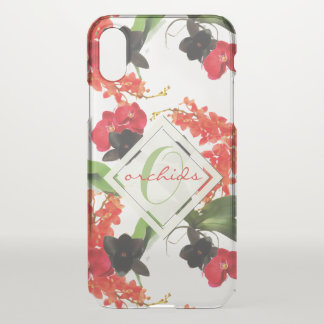 Black and Red Orchids Art Watercolor Monogram iPhone X ケース