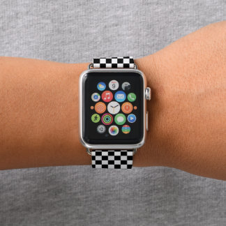 Black and White Checkered Apple Watch Band Apple Watchバンド
