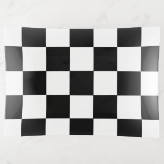 Black And White Checkered Checkerboard Pattern トリンケットトレー