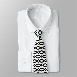 Black and White Christian Fish Symbol  Necktie タイ