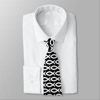 Black and White Christian Fish Symbol  Necktie ネックウェアー