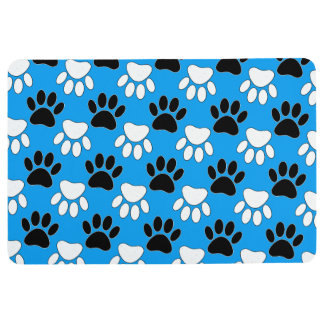 Black And White Dog Paws In Blue Background フロアマット
