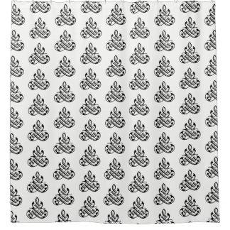 Black and White Fancy Flourish Shower Curtain シャワーカーテン