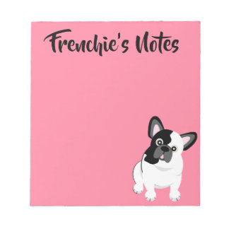 Black and White French Bulldog Cute Puppy ノートパッド