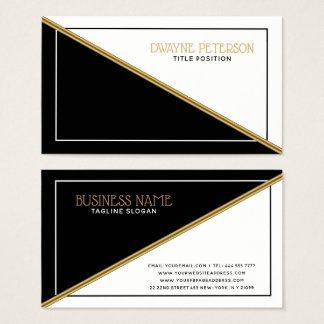 Black And White Geometric Shapes Gold Stripe 名刺