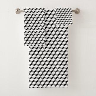 Black And White Geometric Striking Pattern バスタオルセット