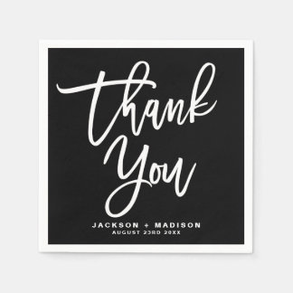 Black and White Hand Lettered Script Thank You スタンダードカクテルナプキン