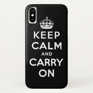 Black and white keep calm and carry on iPhone x ケース