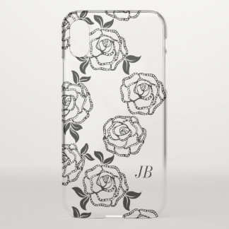 Black And White Modern Flowers Personalized iPhone X ケース