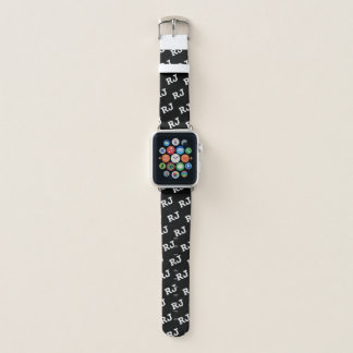 Black and White Monogrammed Motif Apple Watch Band Apple Watchバンド