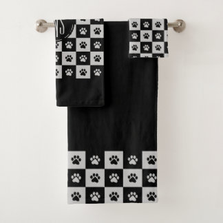 Black and white paw prints Pattern バスタオルセット