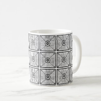 Black and White Primitive Mexican Pattern コーヒーマグカップ