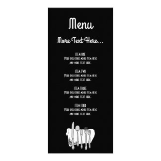 Black and White Siverware Design Menu Rack Card ラックカード
