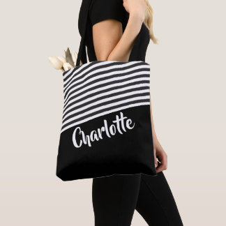 Black and White Striped Pattern Personalized トートバッグ