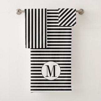 Black and white stripes and monogram towel set バスタオルセット