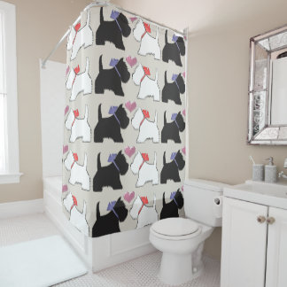 Black and White Westie Dogs Art Shower Curtain シャワーカーテン