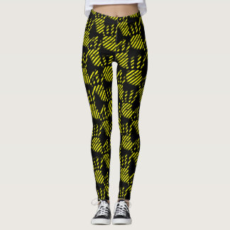 Black and yellow palm prints pattern, construction レギンス