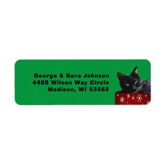 Black Cat Christmas on Snowflakes Address Label ラベル