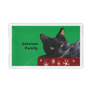 Black Cat Christmas on Snowflakes Red Serving Tray アクリルトレー