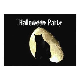Black cat customizable Halloween party invitation カード