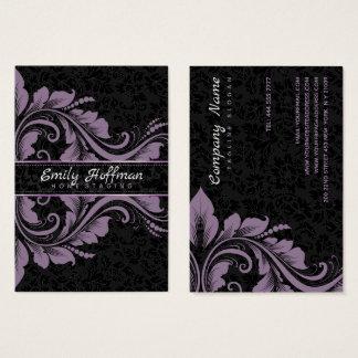 Black Damasks And Purple Ornament 名刺