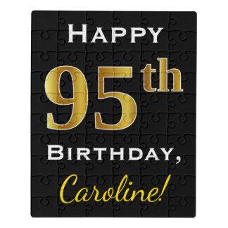 Black, Faux Gold 95th Birthday + Custom Name ジグソーパズル