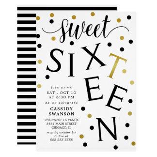 Black & Faux Gold Typography Sweet Sixteen 12.7 X 17.8 インビテーションカード