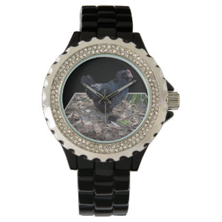 Black_Fluffy_Roosterの_Ladies_Black_Sparkle_Watch 腕時計