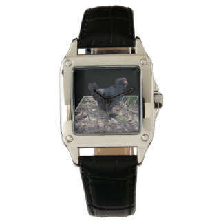 Black_Fluffy_Rooster_Ladies_Square_Leather_Watch 腕時計