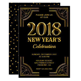 Black Gold Art Deco 2018 New Year's Eve Party カード