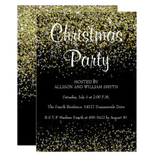 Black & Gold Glitter Christmas Party Invitations カード