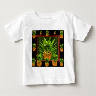 BLACK-GREENのハワイのパイナップルデザイン ベビーTシャツ