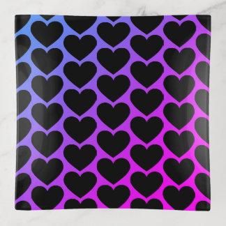 Black heart pattern square トリンケットトレー