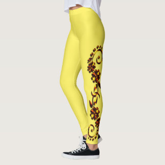 Black & Hot Brown & Yellow Ornamental Leggings レギンス