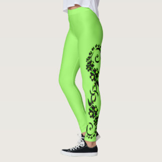 Black & Hot Green & Lime Ornamental Leggings レギンス