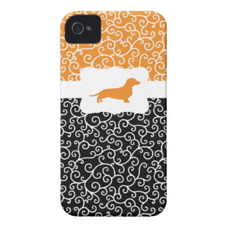 Black&Orangeはw/Dachshund渦巻きます Case-Mate iPhone 4 ケース