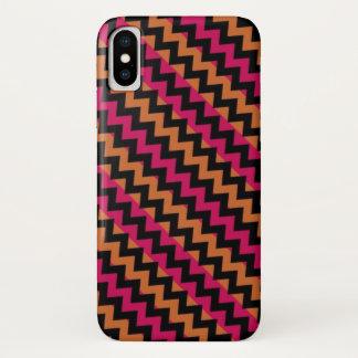 Black Orange Pink Chevron Pattern iPhone X ケース