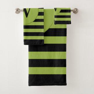 Black Personalized monogram green stripes バスタオルセット