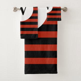Black Personalized monogram red stripes バスタオルセット