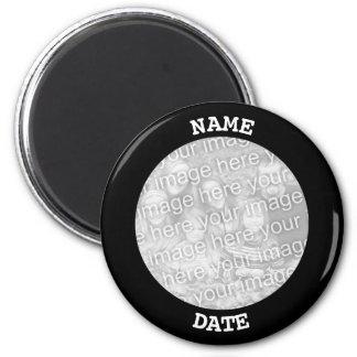 Black Personalized Round Photo Border マグネット