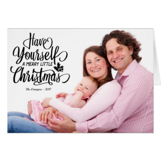 Black Text Merry Little Christmas Photo Card カード