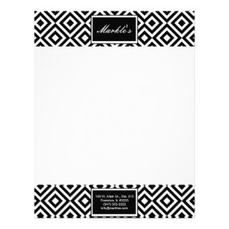 black white abstract boxes stationery レターヘッド