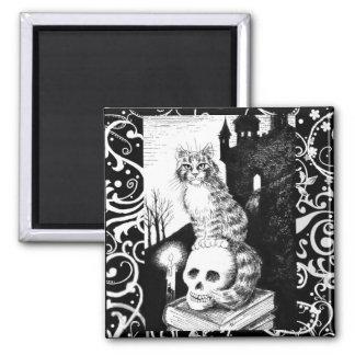 Black & White Cat Halloween kitten skull magnet マグネット
