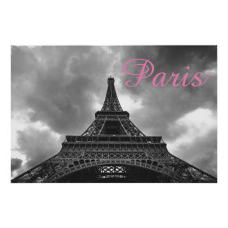 Black White Eiffel Tower Paris Romantic Love City ポスター