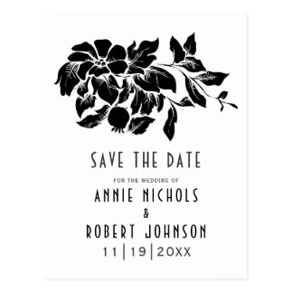 Black, white floral wedding Save the Date ポストカード