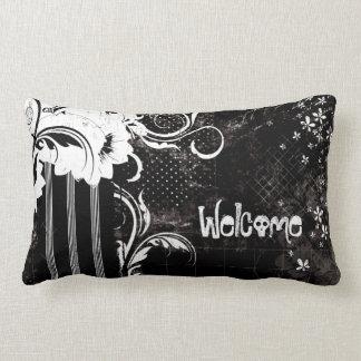 Black White Floral Welcome Skull Lumbar Pillow ランバークッション
